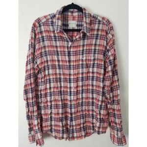AG Button Front Linen Blend Plaid Shirt